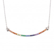 Wholesale Sterling Silver 925 Rhodium Plated Curve Pendant Necklace with Rainbow CZ - BGP01310