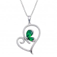 Wholesale Sterling Silver 925 Rhodium Plated Heart Pendant Necklace with Green CZ - BGP01311