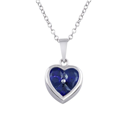 Wholesale Sterling Silver 925 Rhodium Plated Heart Blue CZ Necklace - BGP01312BLU