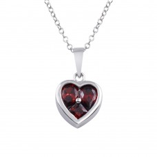 Wholesale Sterling Silver 925 Rhodium Plated Heart Red CZ Necklace - BGP01312RED