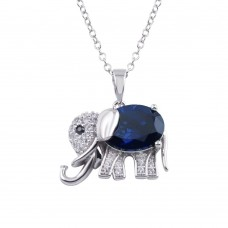 Wholesale Sterling Silver 925 Rhodium Plated Blue CZ Elephant Pendant Necklace - BGP01313BLU