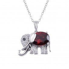 Wholesale Sterling Silver 925 Rhodium Plated Red CZ Elephant Pendant Necklace - BGP01313RED