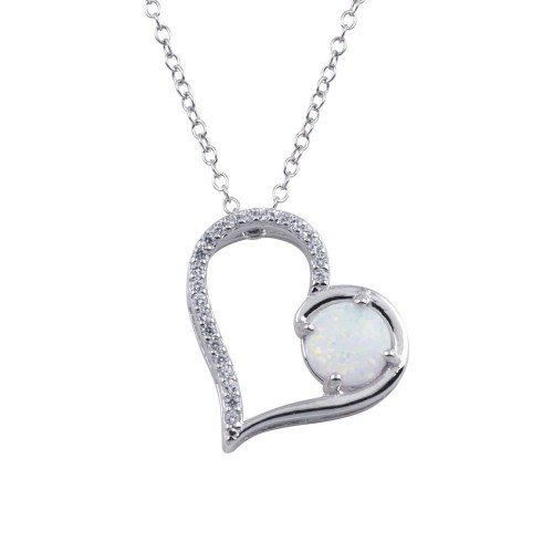 Wholesale Sterling Silver 925 Rhodium Plated Heart Synthetic Opal Pendant Necklace - BGP01314