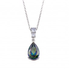 Wholesale Sterling Silver 925 Rhodium Plated Synthetic Mystic Topaz Teardrop CZ Necklace - BGP01315