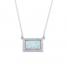 Wholesale Sterling Silver 925 Rhodium Plated Rectangle Opal Pendant Necklace with CZ - BGP01316