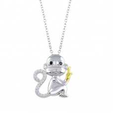 Wholesale Sterling Silver 925 2 Toned CZ Monkey Necklace - BGP01317