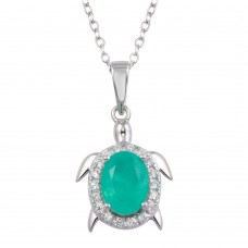 Wholesale Sterling Silver 925 Turtle Pendant Necklace with Light Blue CZ - BGP01320