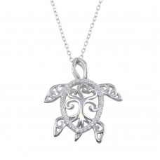 Wholesale Sterling Silver 925 Rhodium Plated Family Tree Design CZ Turtle Necklace - BGP01321