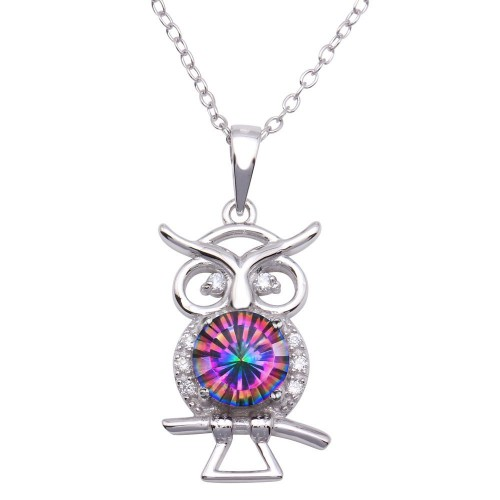 Wholesale Sterling Silver 925 Rhodium Plated Mystic Topaz CZ Owl Necklace - BGP01322