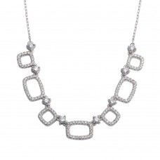 Wholesale Sterling Silver 925 Rhodium Plated 5 Open Square CZ Necklace - BGP01325