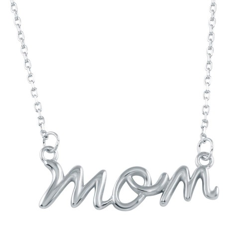 Wholesale Sterling Silver 925 Rhodium Plated Script Mom Necklace - BGP01326