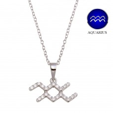 Wholesale Sterling Silver 925 Rhodium Plated Aquarius CZ Zodiac Sign Necklace - BGP01328