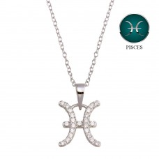 Wholesale Sterling Silver 925 Rhodium Plated Pisces CZ Zodiac Sign Necklace - BGP01329
