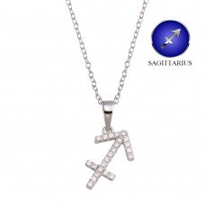 Wholesale Sterling Silver 925 Rhodium Plated Sagittarius CZ Zodiac Sign Necklace - BGP01330