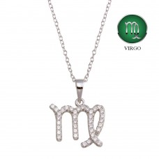 Wholesale Sterling Silver 925 Rhodium Plated Virgo CZ Zodiac Sign Necklace - BGP01331