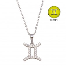Wholesale Sterling Silver 925 Rhodium Plated Gemini CZ Zodiac Sign Necklace - BGP01332