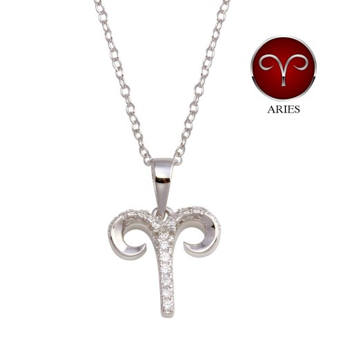Wholesale Sterling Silver 925 Rhodium Plated Aries CZ Zodiac Sign Necklace - BGP01333