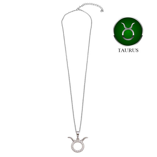 Wholesale Sterling Silver 925 Rhodium Plated Taurus CZ Zodiac Sign Necklace - BGP01334
