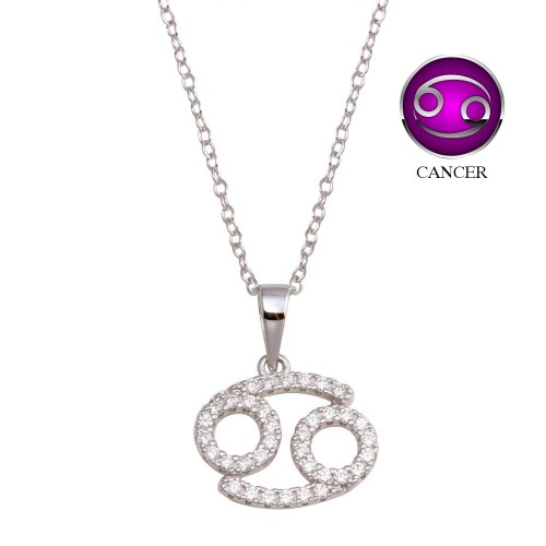 Wholesale Sterling Silver 925 Rhodium Plated Cancer CZ Zodiac Sign Necklace - BGP01335