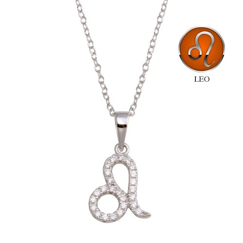 Wholesale Sterling Silver 925 Rhodium Plated Leo CZ Zodiac Sign Necklace - BGP01336