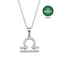 Wholesale Sterling Silver 925 Rhodium Plated Libra CZ Zodiac Sign Necklace - BGP01337