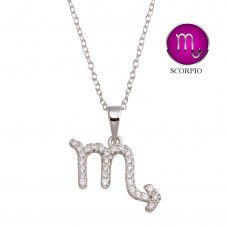 Wholesale Sterling Silver 925 Rhodium Plated Scorpio CZ Zodiac Sign Necklace - BGP01338