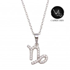 Wholesale Sterling Silver 925 Rhodium Plated Capricorn CZ Zodiac Sign Necklace - BGP01339