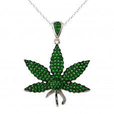 Wholesale Sterling Silver 925 Rhodium Plated Green CZ Marijuana Leaf Necklace - BGP01340