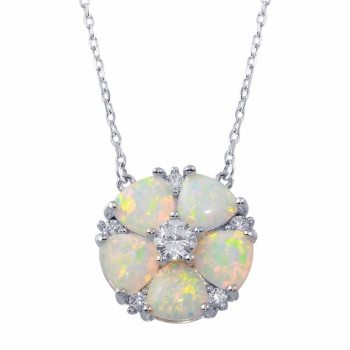 Wholesale Sterling Silver 925 Rhodium Plated Opal and CZ Round Flower Necklace - BGP01342