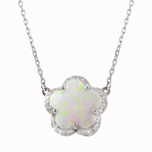 Wholesale Sterling Silver 925 Rhodium Plated Opal and CZ Flower Necklace - BGP01343