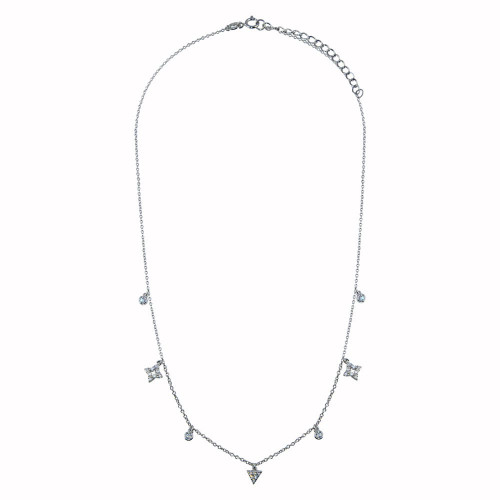Wholesale Sterling Silver 925 Rhodium Plated CZ Charm Necklace - BGP01344