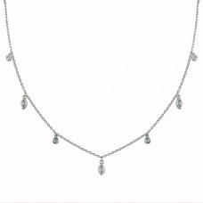 Wholesale Sterling Silver 925 Rhodium Plated Round and Marquise Shape CZ Charm Necklace - BGP01345