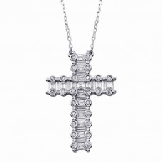 Wholesale Sterling Silver 925 Rhodium Plated CZ Cross Necklace -BGP01346