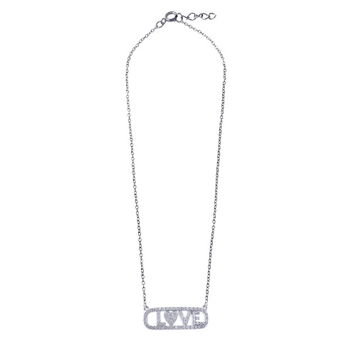 """Wholesale Sterling Silver 925 Rhodium Plated CZ Word Tag Necklace """"LOVE"""" - BGP01347"""