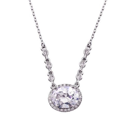 Wholesale Sterling Silver 925 Rhodium Plated Floating Halo Oval CZ Necklace - BGP01348