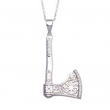 Wholesale Sterling Silver 925 Rhodium Plated Indian Axe CZ Necklace - BGP01351
