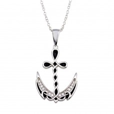 Wholesale Sterling Silver 925 Rhodium Plated Celtic Design Anchor CZ Necklace - BGP01352
