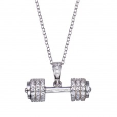 Wholesale Sterling Silver 925 Rhodium Plated Small Dumbbell CZ Necklace - BGP01353