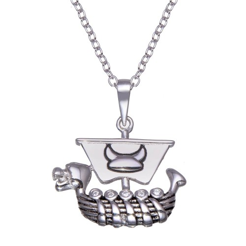 Wholesale Sterling Silver 925 Rhodium Plated Viking Ship Necklace - BGP01357