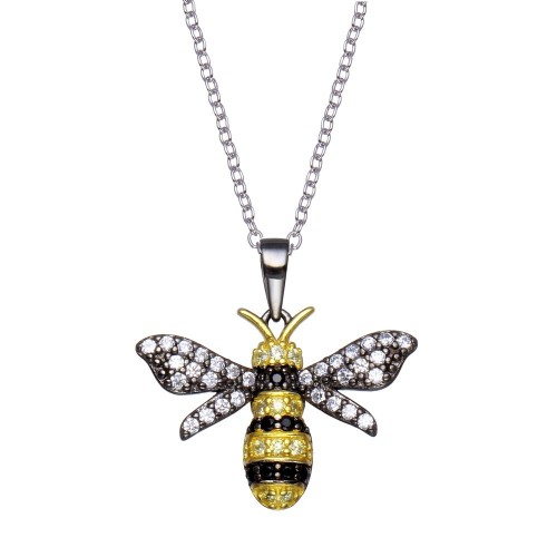 Wholesale Sterling Silver 925 Rhodium Plated BumbleBee CZ Necklace - BGP01359