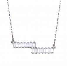 Wholesale Sterling Silver 925 Rhodium Plated Double Baguette Horizontal Bar CZ Necklace - BGP01360