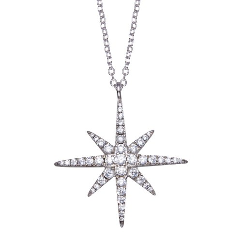 Wholesale Sterling Silver 925 Rhodium Plated Snow Flakes CZ Necklace - BGP01361
