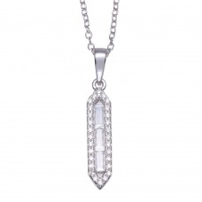 Wholesale Sterling Silver 925 Rhodium Plated Baguette Vertical Bar CZ Necklace - BGP01362