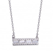 Wholesale Sterling Silver 925 Rhodium Plated Baguette Horizontal Bar CZ Necklace - BGP01363