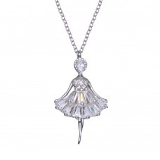 Wholesale Sterling Silver 925 Rhodium Plated Ballerina Baguette CZ Necklace - BGP01364