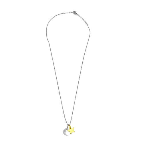 Wholesale Sterling Silver 925 Rhodium Plated 2 Toned Star and Crescent Moon CZ Necklace - BGP01365