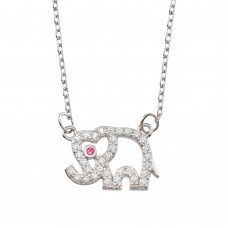 Wholesale Sterling Silver 925 Rhodium Plated Outline Elephant CZ Necklace - BGP01366
