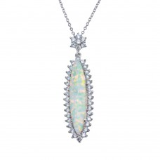 Wholesale Sterling Silver 925 Rhodium Plated Teardrop Synthetic Opal Necklace with CZ - BGP01367