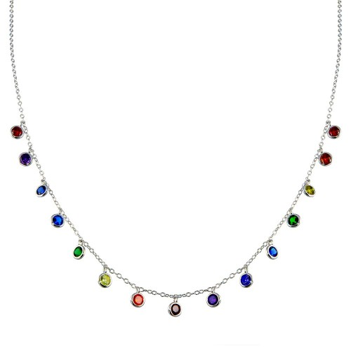 Wholesale Sterling Silver 925 Rhodium Plated Multi Color CZ Necklace - BGP01370