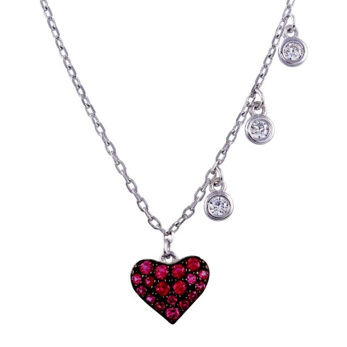 Wholesale Sterling Silver 925 Rhodium Plated Dark Pink CZ Heart Necklace - BGP01371